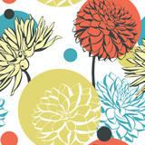 Vector seamless pattern with decorative dahlia flowers