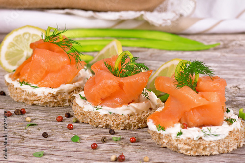 Poster Snack Sandwich with smoked salmon
