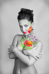 Black and white girl colorful body-art