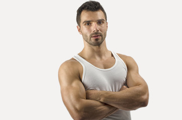 Portrait of relax bodybuilder,shoulders,biceps, triceps,chest