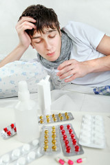Sick Young Man with Flu