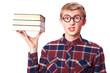 Nerd guy with books