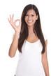 Junge lachende Frau dunkelhaarig - lange Haare und isoliert