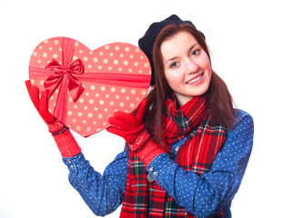 gift with heart shape gift.