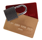 Credit cards and lock isolated on white