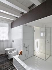 grande vasca da bagno nel bagno moderno