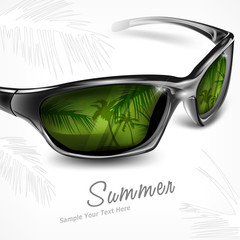 Sunglasses with summer tropical island reflection on white,