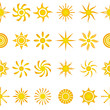 Yellow suns seamless pattern.