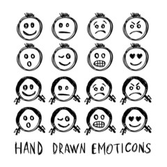 Hand drawn vector emotions.