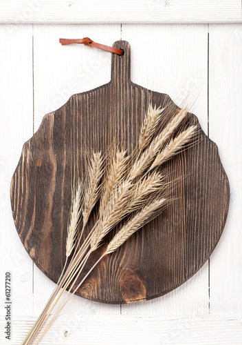 Wheat ears on vintage board