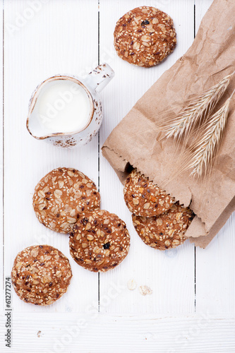 Oatmeal cereal cookies on light background