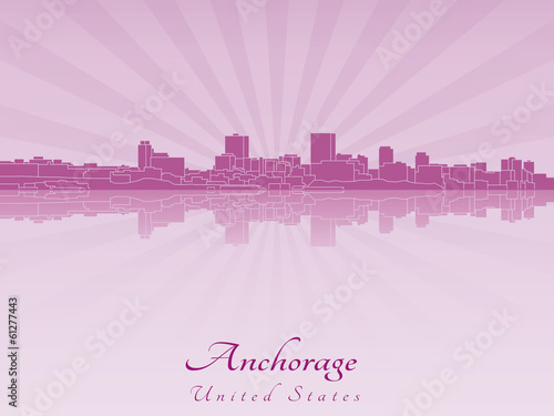 Anchorage skyline in purple radiant orchid