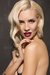 beautiful woman with blond hair with jewelry