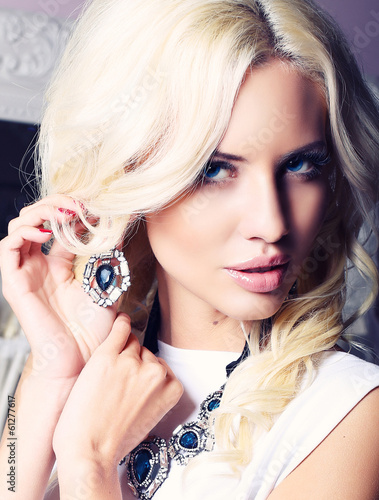 canvas print picture portrait of beautiful girl with blond hair with jewellery