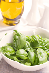 Bowl of green basil