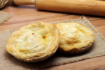 Meat pie traditional from Murcia. Pastel murciano