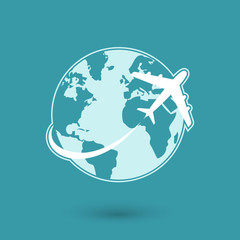 Global plane travel network icon