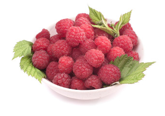Bowl of raspberry isolated