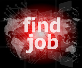 find jobs on digital touch screen, social concept