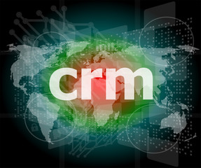 crm word, backgrounds touch screen with transparent buttons