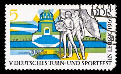 GDR stamp, nations battle monument in Leipzig