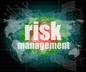 Management concept: words Risk management on digital screen