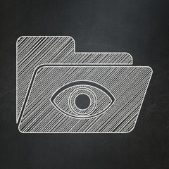 Business concept: Folder With Eye on chalkboard background