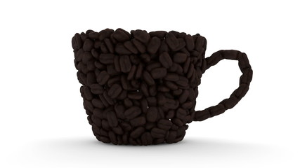 Coffee Cup made from coffee beans. HQ Video Clip with Alpha