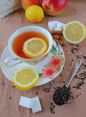 Tea cup with lemon