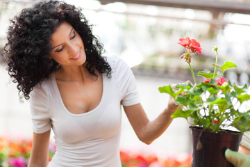 Woman looking at flowers in a green house