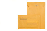 Two brown paper mailing envelopes with clasp,isolated on white
