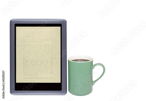 Need caffeine.E reader,coffee cup isolated on  white.