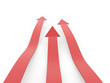 Red business arrows concept on white