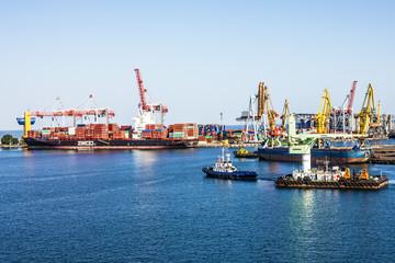Container terminal in Odessa sea port, Ukraine.