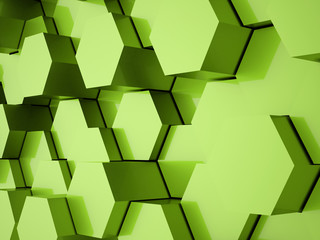 Green hexagonal business background