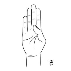 Sign language and the alphabet,The Letter b