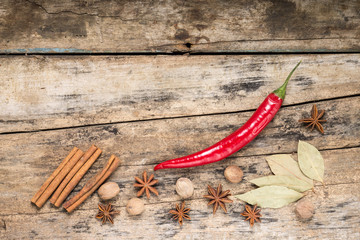Red Chilli Pepper with other Spices on wooden Background