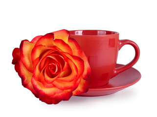 Still life with a mug and a beautiful rose