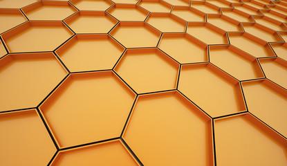 Orange hexagonal cells background