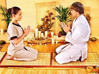 Women at bamboo spa .