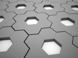 Black and white hexagonal gears background