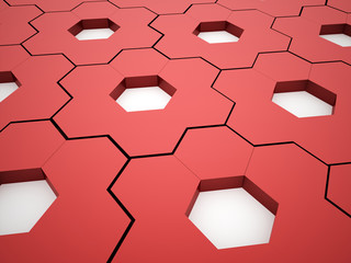 Abstract red hexagonal gears