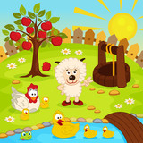 yard with animals and pond - vector  illustration