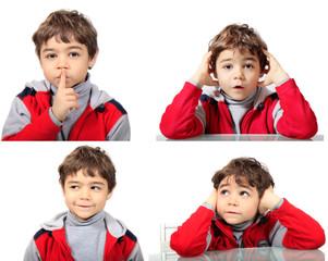 Bambino con diversi espressioni
