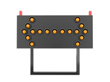 Orange road barrier arrows light isolated