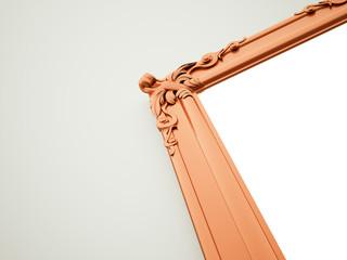 Orange mirror frame rendered on dark