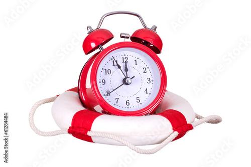 Leinwandbild Motiv old alarm bell with life bouy