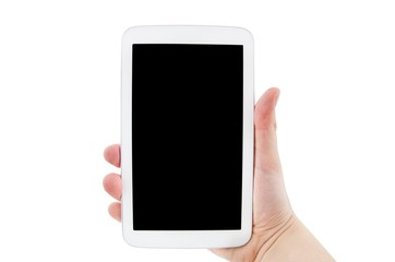 Hand holding tablet pc with empty black display. Horizontal comp