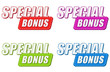 special bonus in four colors labels, flat design