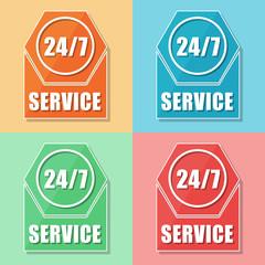 24/7 service, four colors web icons